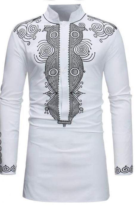 Men African Dashiki Printed Shirt Stand Collar Button Long Sleeve Casual Slim Shirt white