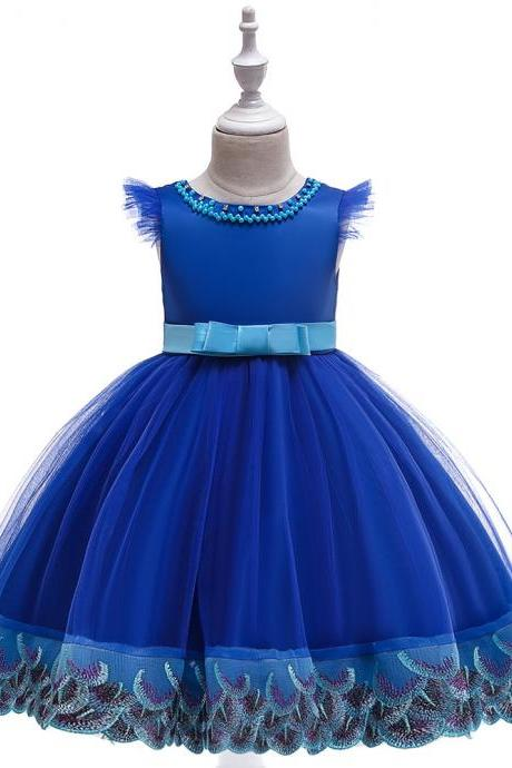Embroidery Flower Girl Dress Princess Birthday Formal Tutu Party Gown Children Kids Clothes royal blue