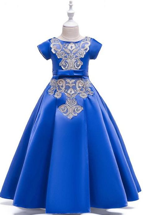 Long Satin Flower Girl Dress Short Sleeve Teens Birthday Formal Tutu Party Gown Children Kids Clothes royal blue