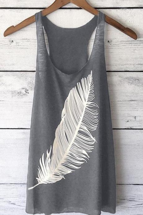 Women Tank Top Feather Printed Summer Casual Loose O-Neck Sleeveless T Shirt gray