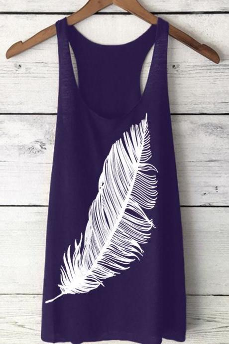Women Tank Top Feather Printed Summer Casual Loose O-Neck Sleeveless T Shirt purple