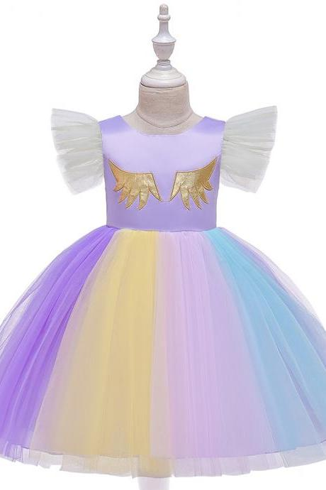 Unicorn Flower Girl Dress Rainbow Birthday Formal Tutu Party Gown Children Kids Clothes lilac