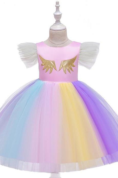 Unicorn Flower Girl Dress Rainbow Birthday Formal Tutu Party Gown Children Kids Clothes pink