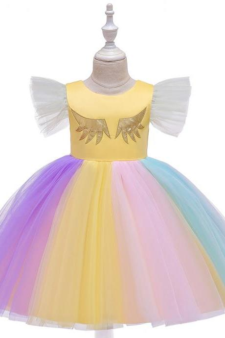 Unicorn Flower Girl Dress Rainbow Birthday Formal Tutu Party Gown Children Kids Clothes yellow