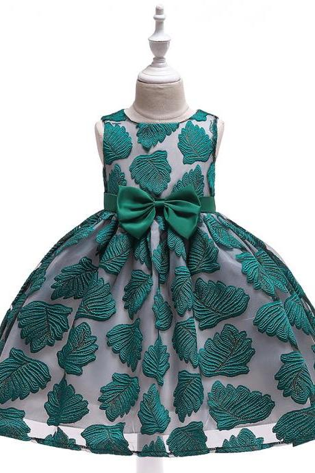 Leaf Embroidery Flower Girl Dress Lace Princess Formal Birthday Party Tutu Gown Kids Children Clothes green