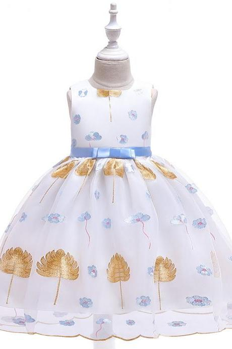 Leaves Embroidery Flower Girl Dress Princess Wedding Birthday Party Tutu Gown Kids Children Clothes blue