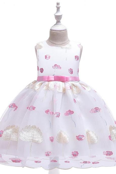 Leaves Embroidery Flower Girl Dress Princess Wedding Birthday Party Tutu Gown Kids Children Clothes pink