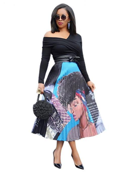 Women Pleated Skirt High Waist Vintage Cartoon Printed Mid-Calf Casual Midi Skirt 4#