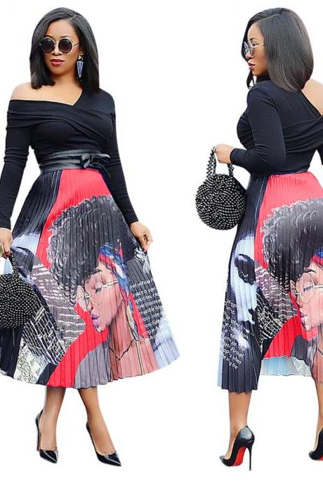 Women Pleated Skirt High Waist Vintage Cartoon Printed Mid-Calf Casual Midi Skirt 6#
