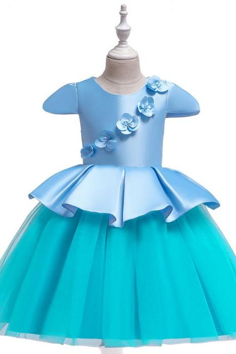 Satin Flower Girl Dress Short Sleeve Wedding Formal Birthday Party Tutu Gown Kids Children Clothes sky blue