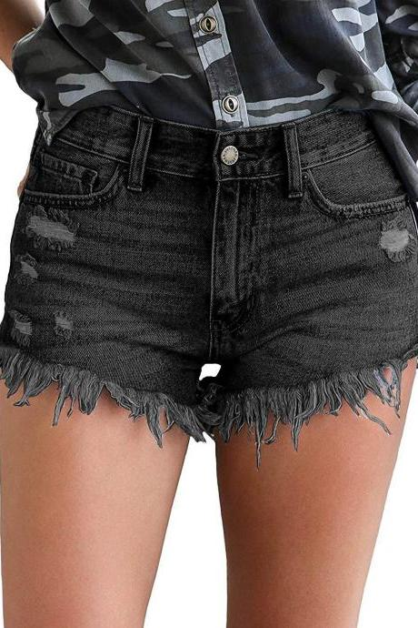Women Denim Shorts Casual Summer Mid Waist Ripped Tassel Pockets Jean Shorts 666-Black
