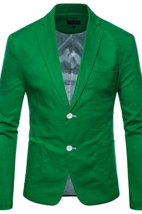 Men Blazer Coat Two Buttons Cotton Linen Long Sleeve Plus Size Slim Fit Suit Jacket green