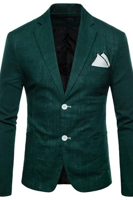 Men Blazer Coat Two Buttons Cotton Linen Long Sleeve Plus Size Slim Fit Suit Jacket hunter green