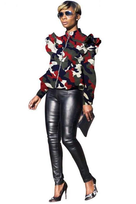 Women Camouflage Printed Coat Spring Fall Stand Collar Long Sleeve Ruffles Zip Jackets wine red
