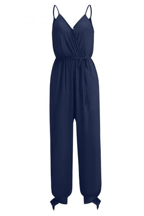 Women Jumpsuit V Neck Spaghetti Strap Sleeveless Casual Summer Long Pants Rompers navy blue
