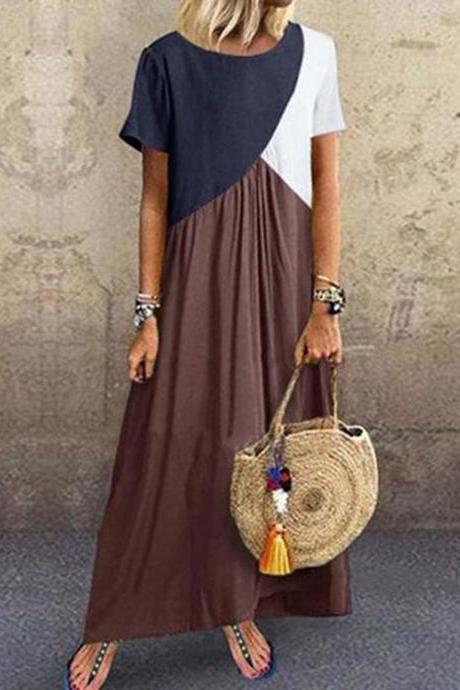 Women Maxi Dress Contrast Color Patchwork Short Sleeve Causal Plus Size Loose Long Dress brown
