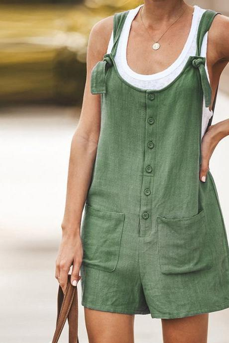 Women Short Jumpsuit Summer Button Pocket Casual Loose Cotton Linen Playsuit Overalls army green