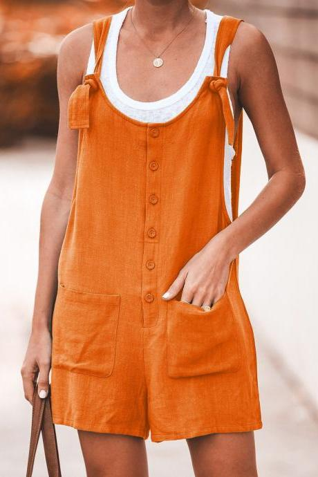 Women Short Jumpsuit Summer Button Pocket Casual Loose Cotton Linen Playsuit Overalls orange