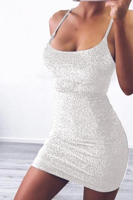 Women Glitter Mini Dress Spaghetti Strap Back Lace Up Bandage Slim ClubParty Dres white