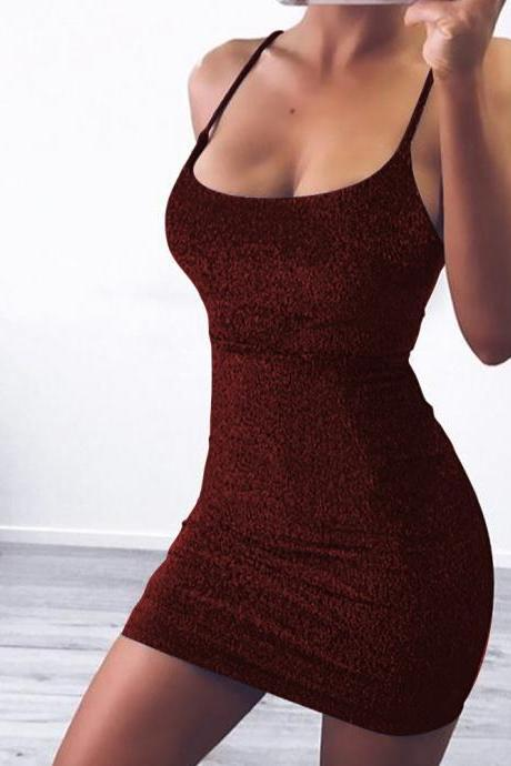 Women Glitter Mini Dress Spaghetti Strap Back Lace Up Bandage Slim ClubParty Dres wine red