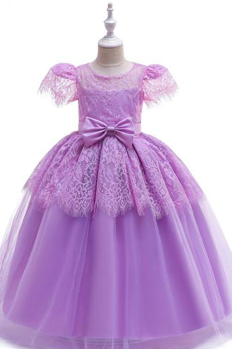 Lace Long Flower Girl Dress Short Sleeve Teens Formal Evening Party Gowns Kid Children Clothes lilac