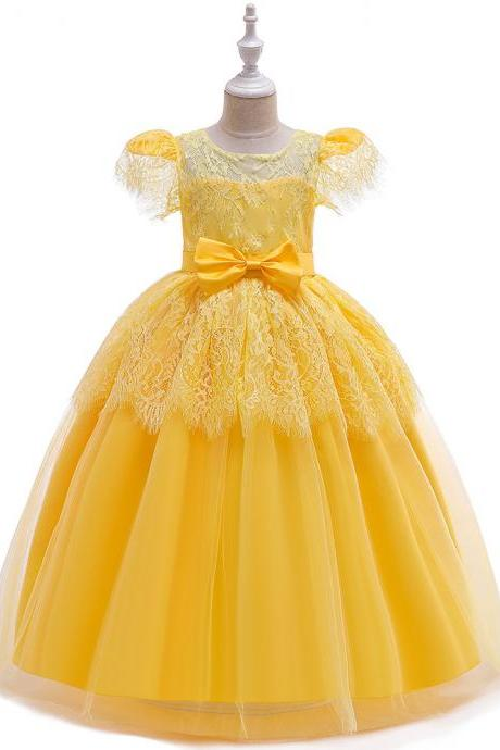 Lace Long Flower Girl Dress Short Sleeve Teens Formal Evening Party Gowns Kid Children Clothes yellow