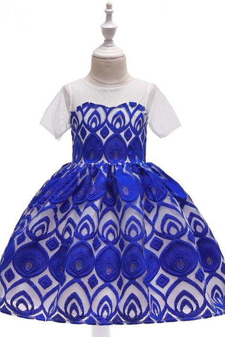 Lace Flower Girl Dress Short Sleeve Formal Party Birthday Tutu Gown Kids Children Clothes royal blue