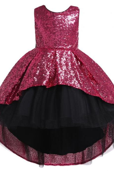 Sequined Flower Girl Dress High Low Formal Birthday Perform Party Tutu Gown Kids Children Clothes hot pink