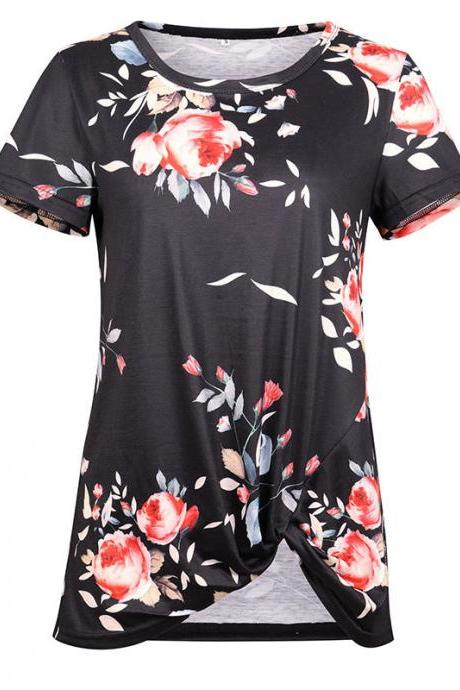 Women Short Sleeve T Shirt O Neck Summer Tie Asymmetrical Casual Loose Tee Tops black floral