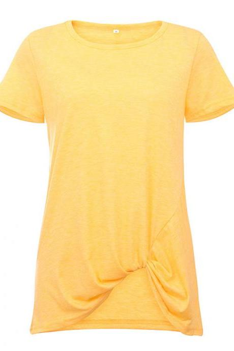Women Short Sleeve T Shirt O Neck Summer Tie Asymmetrical Casual Loose Tee Tops yellow