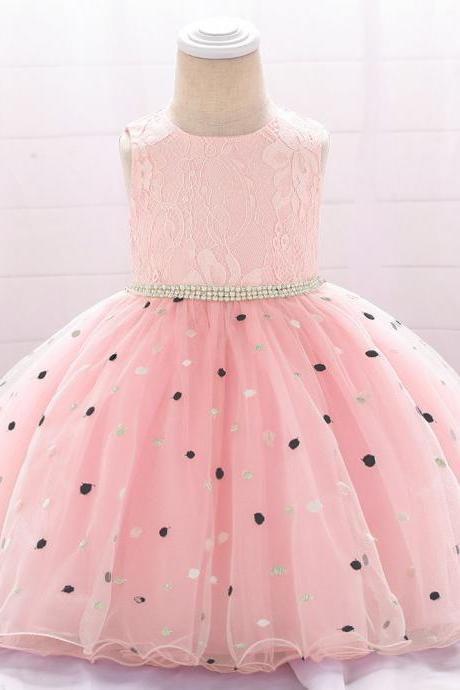 Polka Dot Flower Girl Dress Newborn Wedding Baptism Christening Birthday Party Gown Kids Children Clothes pink