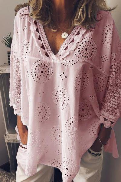 Women Blouse V Neck 3/4 Sleeve Hollow Out Lace Plus Size Casual Loose Tops Shirt pink
