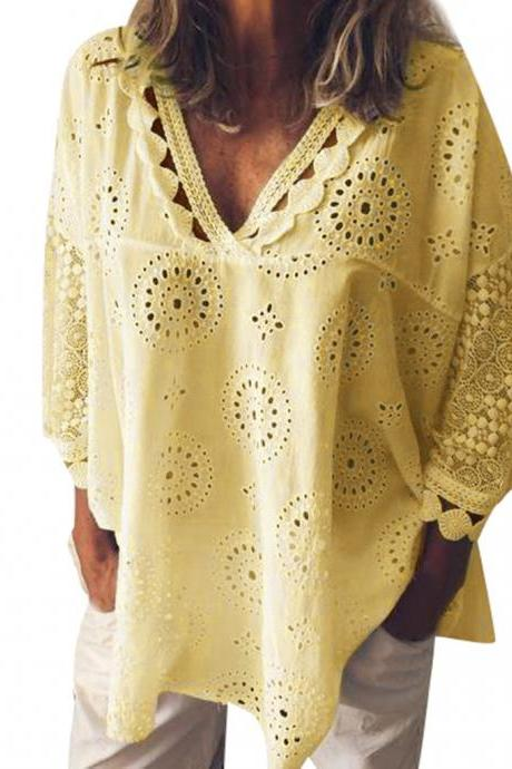 Women Blouse V Neck 3/4 Sleeve Hollow Out Lace Plus Size Casual Loose Tops Shirt yellow