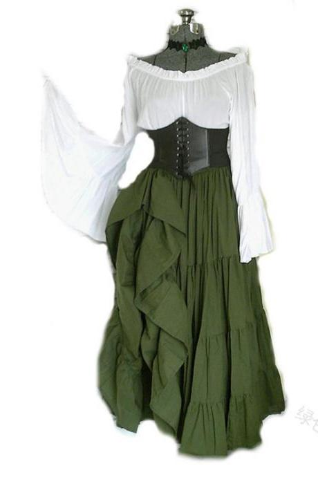 Women Maxi Dress Off Shoulder Flare Sleeve Medieval Costume Halloween Cosplay Victorian Long Dress green