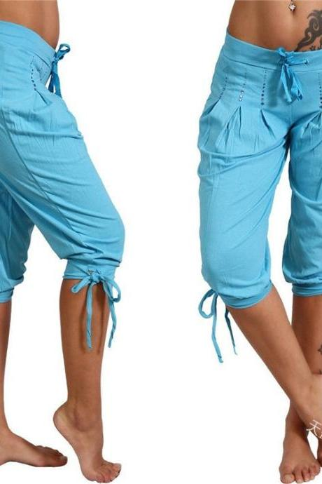 Women Cropped Pants Summer Sequined Bandage Mid Waist Plus Size Casual Trousers sky blue