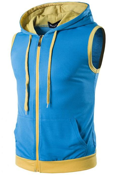 Men Waistcoat Patchwork Contrast color Casual Vest Slim Hooded Sleeveless Coat blue