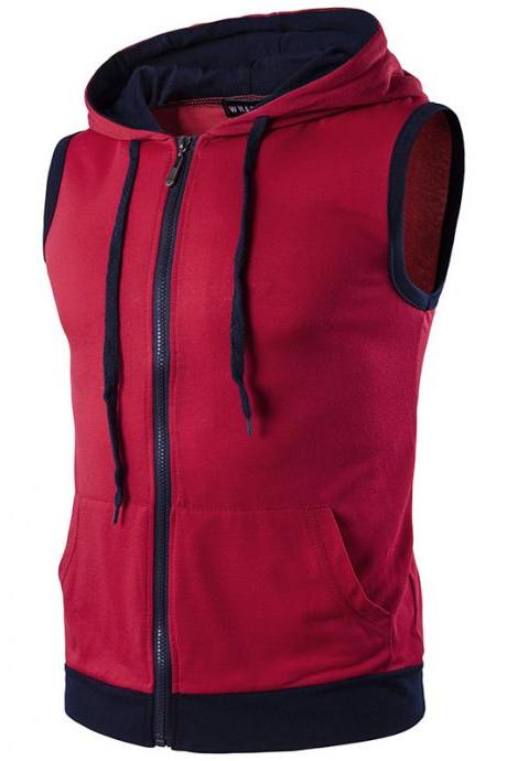Men Waistcoat Patchwork Contrast color Casual Vest Slim Hooded Sleeveless Coat red