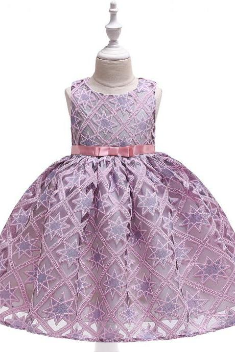 Lace Flower Girl Dress Star Pattern Princess Formal Party Birthday Tutu Gown Kids Children Clothes pink