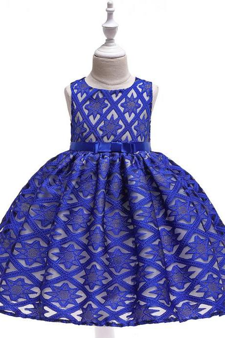 Lace Flower Girl Dress Star Pattern Princess Formal Party Birthday Tutu Gown Kids Children Clothes royal blue