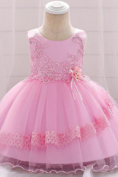 Applique Lace Flower Girl Dress Princess Tutu Newborn Wedding Birthday Party Baptism Gown Baby Kids Clothes pink