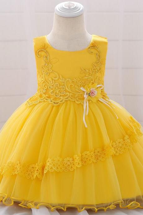 Applique Lace Flower Girl Dress Princess Tutu Newborn Wedding Birthday Party Baptism Gown Baby Kids Clothes yellow