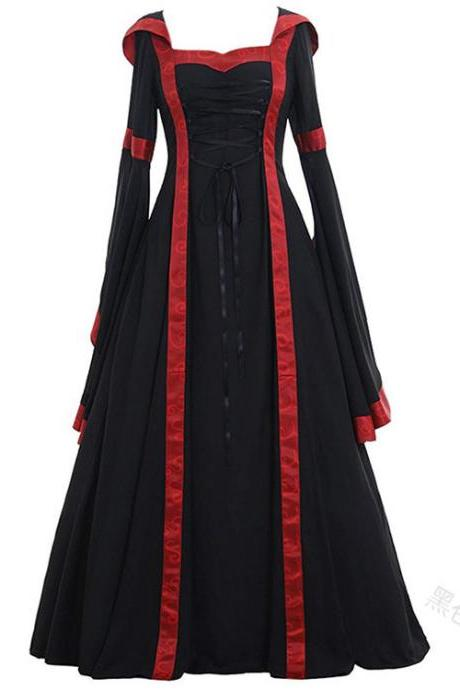 Women Maxi Dress Hooded Flare Sleeve Medieval Renaissance Gown Vintage Halloween Costume black