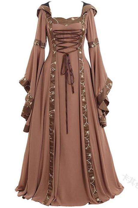Women Maxi Dress Hooded Flare Sleeve Medieval Renaissance Gown Vintage Halloween Costume khaki
