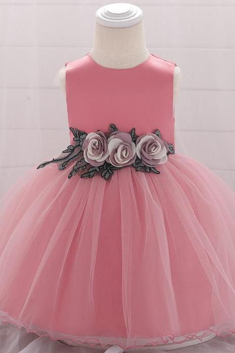 Baby Girls Dress Flower Tutu Princess Birthday Baptism Party Gown Kids Children Clothes blush