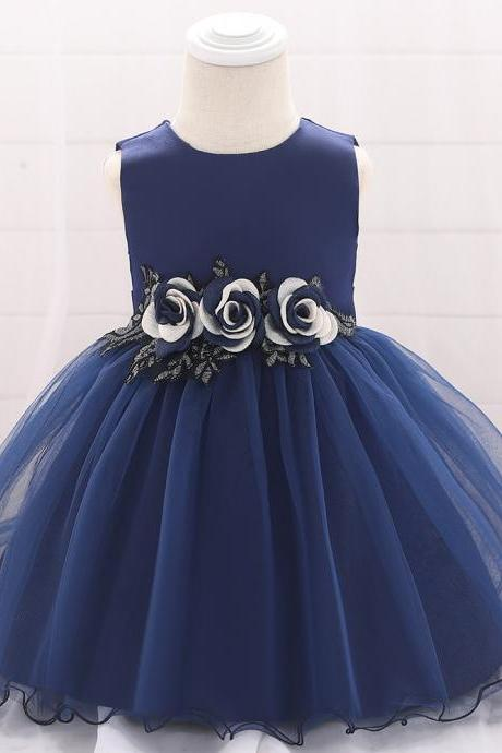 Baby Girls Dress Flower Tutu Princess Birthday Baptism Party Gown Kids Children Clothes navy blue