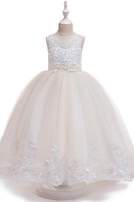 Long Flower Girls Dress Trailing Lace Tutu Wedding Birthday Formal Party Gown Kids Children Clothes champagne