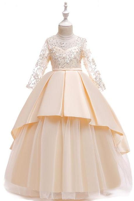 Long Sleeve Flower Girls Dress Lace Tutu Wedding Birthday Formal Party Gown Kids Children Clothes champagne