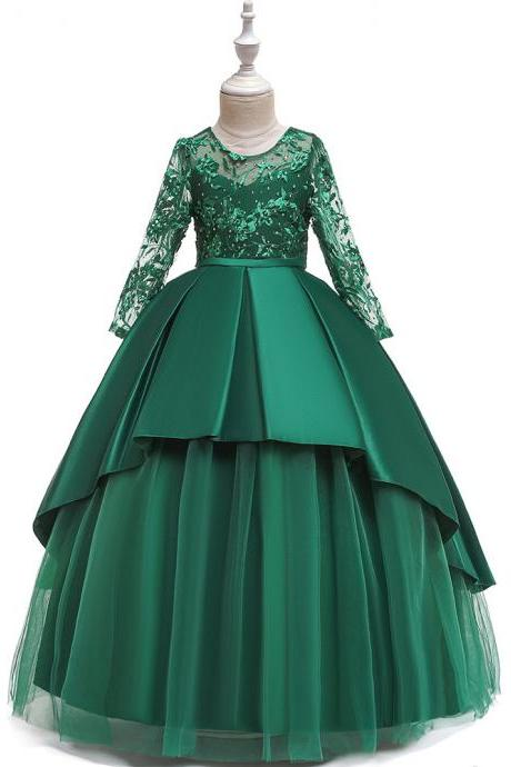 Long Sleeve Flower Girls Dress Lace Tutu Wedding Birthday Formal Party Gown Kids Children Clothes green