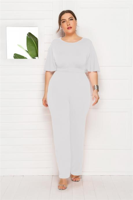 Women Jumpsuit Plus Size Half Sleeve Office Work Casual Loose Long Rompers white
