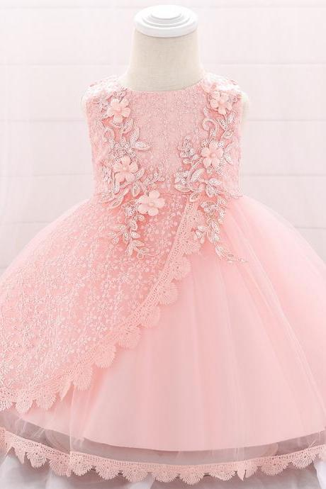 Lace Flower Girl Dress Princess Newborn Baptism Party Birthday Tutu Gown Baby Kids Clothes salmon